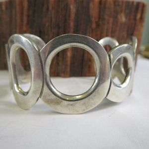 Large Sterling Mexican Bubble Cuff Bracelet
